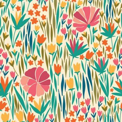 Quadro Vector o teste padrão sem emenda com flor do verão. Pode ser usado para papel de parede de mesa ou quadro para um enforcamento de parede ou cartaz, para preenchimentos de padrão, texturas de superfíci
