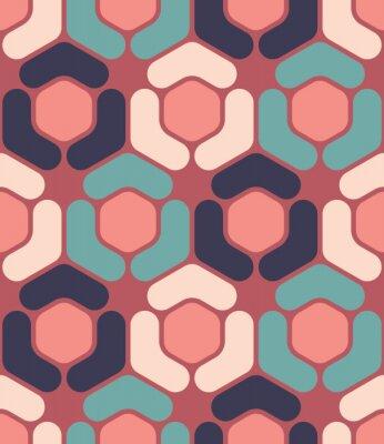 Quadro Vector padrão de hexágono de geometria colorida transparente sem emenda, cor fundo geométrico abstrato, travesseiro impressão multicolorido, textura retro, design de moda hipster