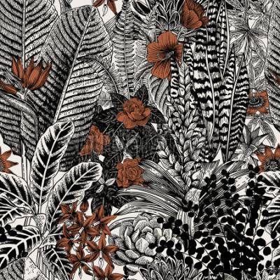 Quadro Vector sem costura vintage padrão. Flores e plantas exóticas. Ilustração clássica botânica.