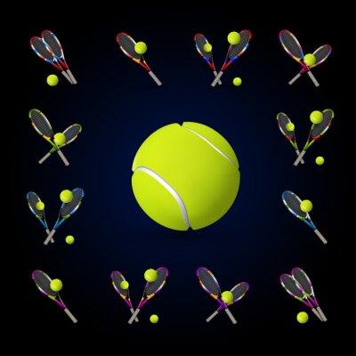 Quadro Vector, tênis, SÍMBOLOS, desenho, elementos, tênis, Bolas ...