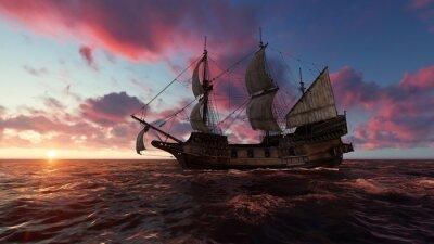Quadro Veleiro no mar à noite ao pôr-do-sol Ilustração 3d