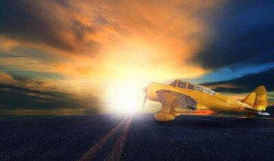 Quadro Velho, amarela, hélice, avião, aeroporto, pista pista, pôr do sol ...