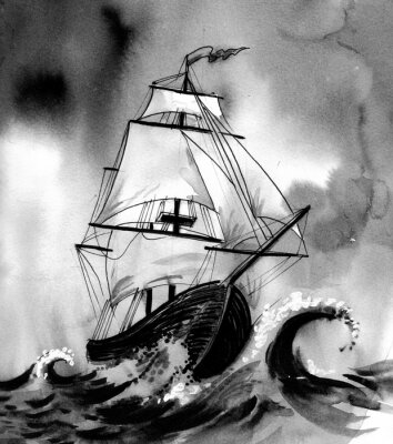 Quadro Velho, navio, tempestuoso, mar