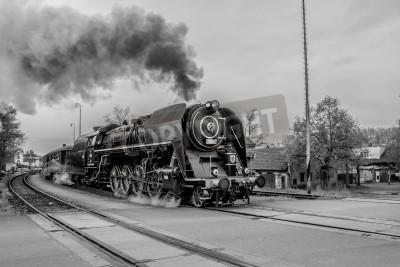 Quadro Velho trem a vapor em preto e branco