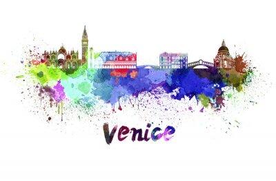 Quadro Veneza horizonte em aquarela