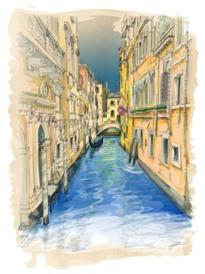 Quadro Venice - water canal, old buildings & gondola away