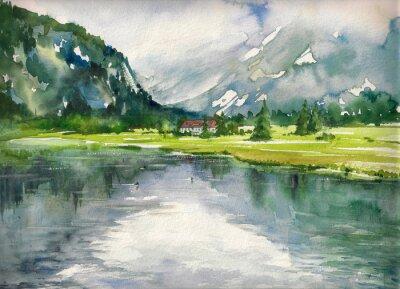 Quadro Verão, paisagem, montanha, lago, pintado, aquarelas