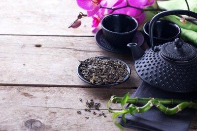 Quadro Verde, chá, tigela, tradicional, Asiático, chá, jogo, envelhecido, madeira