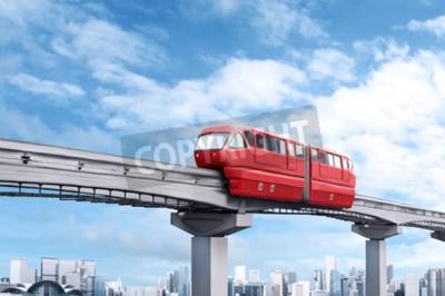 Quadro Vermelho, monorail, trem, contra, azul, céu, modernos, cidade, fundo