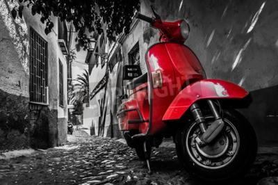 Quadro Vermelho, vespa, scooter, estacionado, pavimentado, rua