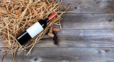 Quadro Vermelho, vinho, garrafa, vindima, vinho, saca-rolhas, palha