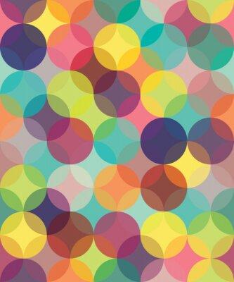 Quadro Vetor moderno sem emenda círculos coloridos padrão de geometria de sobreposição, a cor do fundo geométrico abstrato, papel de parede de impressão, textura retro, design moderno moda,