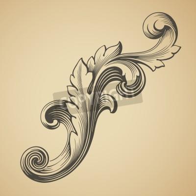 Quadro vetor vintage elemento barroco padrão projeto quadro gravura estilo retro