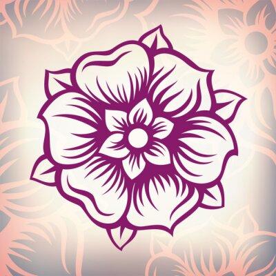 Quadro vetor vintage flor gravura barroca