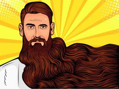 Quadro Vetorial, arte pop, ilustração, de, um, brutal, homem barbudo, macho, com, muito, longo, barba, sobre, tudo, imagem