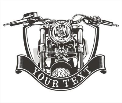 Quadro Vetorial, desenho, vindima, motocicleta, fita, abaixo