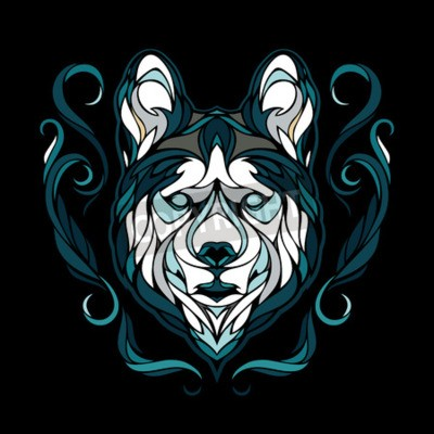 Quadro Vetorial, imagem, cão, siberian, husky