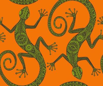 Quadro Vetorial, mão, desenhado, seamless, padrão, com, monocromático, lagarto, ou, sal