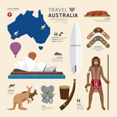 Quadro Viagem Conceito Austrália Landmark planas ícones do design .Vector Illu