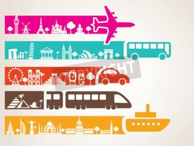 Quadro Viagens mundiais por diferentes tipos de transporte, marcos