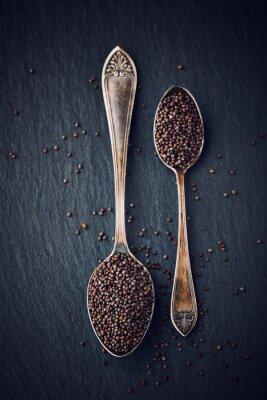 Quadro Vida ainda simples com sementes de mostarda preta