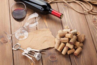 Quadro Vidro, vermelho, vinho, garrafa, saca-rolhas, rústico, madeira, tabela