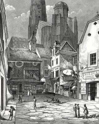 Quadro Viena, com a Catedral de Santo Estêvão Zwettlhof sobre 1842, modelo Gravura em metal cobre