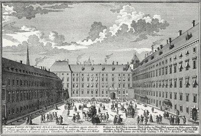 Quadro Viena, Pátio volta de 1725, modelo gravura em cobre