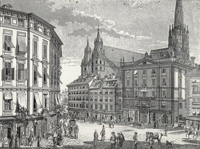 Quadro Viena Stock im Eisen-Platz final do século 18., Modelo Gravura em cobre