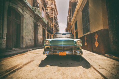 Quadro Vindima, car, estacionado, Havana, rua