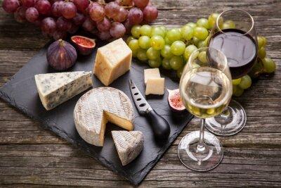 Quadro Vinho e queijo