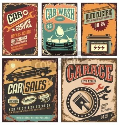 Quadro Vintage, car, serviço, metal, sinais, posters