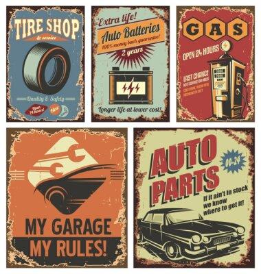 Quadro Vintage carro serviço estanho sinais e cartazes