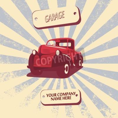 Quadro Vintage retro pickup truck carro ilustração vetorial adequado para promoção, projetos de t-shirt, etc.