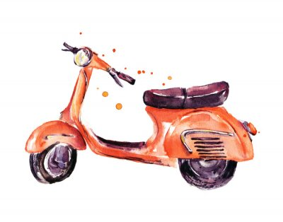 Quadro Vintage, scooter, watercolor, Ilustração, isolado, branca