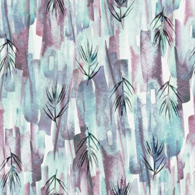Quadro Vintage seamless watercolor pattern of plants, wild grasses, algae, twigs, branch, rosemary, tropical, palm, plant. watercolor stylish pattern. Abstract green of paint splash. Trendy background.