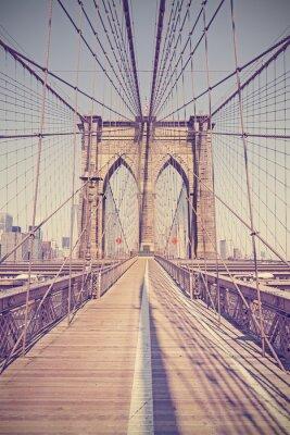 Quadro Vintage tonificou a foto da ponte de Brooklyn, NYC, EUA.