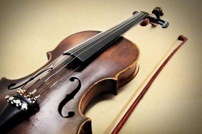Quadro Violino clássico em papel grunge textura.