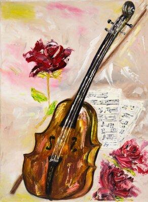 Quadro Violino e rosas