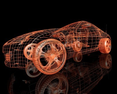 Quadro Visão frontal dos carros modelo moderno 3d render no fundo preto
