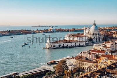 Quadro Vista aérea panorâmico de Veneza do Campanile de San Marco. Grande Canal, Basílica Santa Maria della Salute. Itália