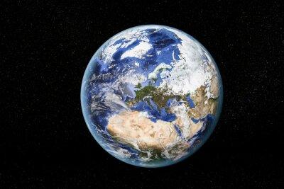 Quadro Vista detalhada da Terra a partir do espaço, mostrando Norte da África, Europa e Oriente Médio. Elementos desta imagem equipada pela NASA