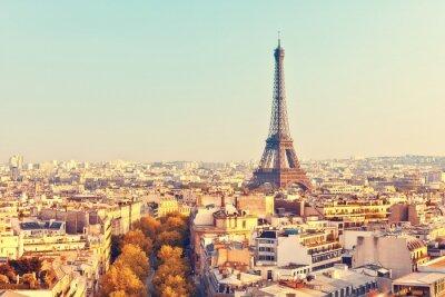 Quadro Vista na torre Eiffel no por do sol