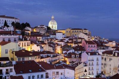 Quadro Vista sobre a Cidade Velha de Lisboa em Portugal
