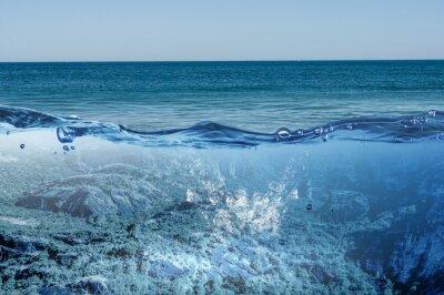 Quadro Vista subaquática do oceano. Meios mistos