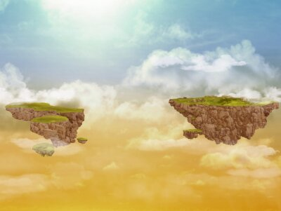 Quadro Voando ilhas no céu.