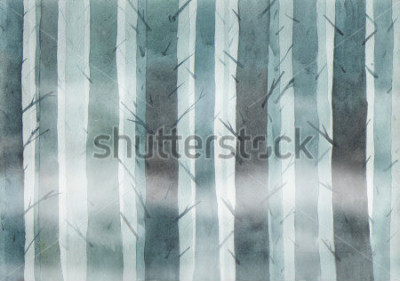 Quadro Watercolor forest. Foggy wood.