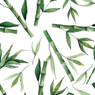 Quadro Watercolor handpainted seamless pattern with green tropical bamboo and leaves