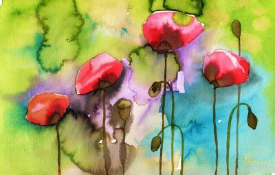 Quadro watercolor illustration depicting spring flowers in the meadow