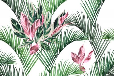 Quadro Watercolor painting colorful coconut,green,pink leaves seamless pattern background.Watercolor hand drawn illustration tropical exotic leaf prints for wallpaper,textile Hawaii aloha summer style..